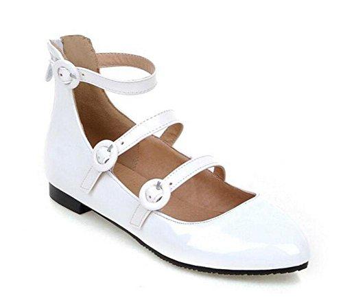 Hebilla Poco Zapatos Zapatos Boca Alta Únicos Mujer GLTER De Plana Corte Bombas Punteados white Zapatos Zapatos Zapatos Palisandro Iw0txZ