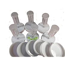 6 Pac BPA free Foodsafe Plastic Mason Jar Fermentation Lids with 6 airlocks, 12 gaskets & 6 grommets included. Jars & fermenting weights not included. (Wide Mouth Mason Jar)