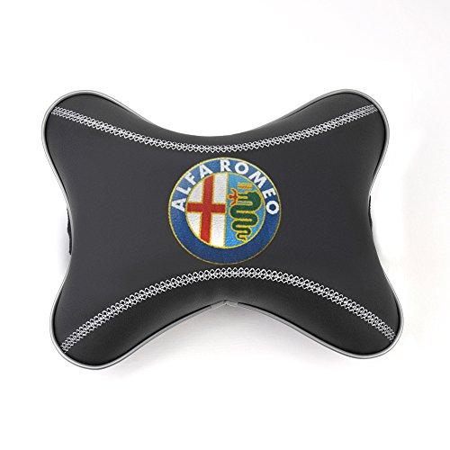 Interior Design Accessories (Alfa Romeo black leather car seat neck rest pillow pad cushion Design accessories for interior Alfa Romeo emblem embroidery)