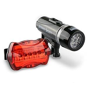 topoint® Bike Licht LED Set 5LED Scheinwerfer vorne mit/Rücklicht...