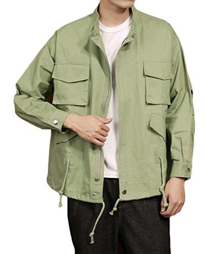 Generic Color Jacket Fashion Drawstring Mens Sleeve Military Green Long Solid PPqpUCw