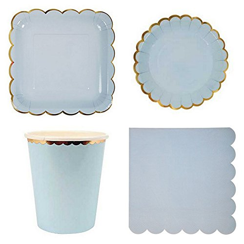 [44pcs/lot Disposable Paper Plates and Cups Valentine Birthday Wedding Party Tableware Dessert Plates for Baby Shower (Pastel Blue)] (Dragon Old Navy Costume)
