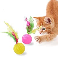 PanDaDa Pet Cat Feather Toy Plastic Golf Ball Toy Color Feather Cat Kitten Interactive Toy