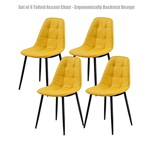 Modern Tufted Accent Chairs Thick Padded Seat Durable Metal Legs Comfortable Ergonomic Backrest Design - Set of 4 Yellow - Settlers Green Hours