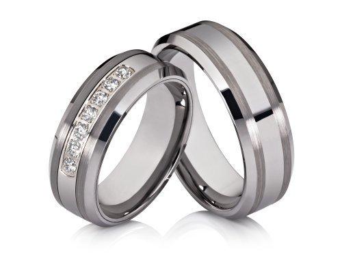 2 anillos de compromiso anillos de bodas Póster con anillos Pareja alianzas de anillos de tungsteno
