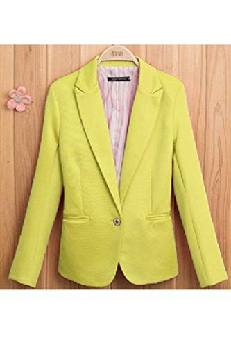 Tasche Blazer Primaverile Di Colore Mode Fit Ufficio Donna Giacche Button Da Eleganti Business Lunga Slim Tailleur Gelb Manica Giacca Moda Vintage Casual Puro Cappotto Marca Autunno Con g4zwq