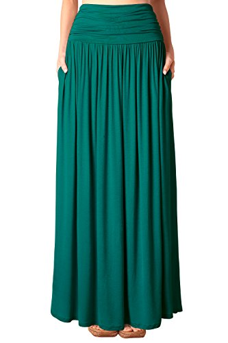 Djt Jupe en Jersey Maxi Long Taille Extensible Poches- Femme Vert Mer