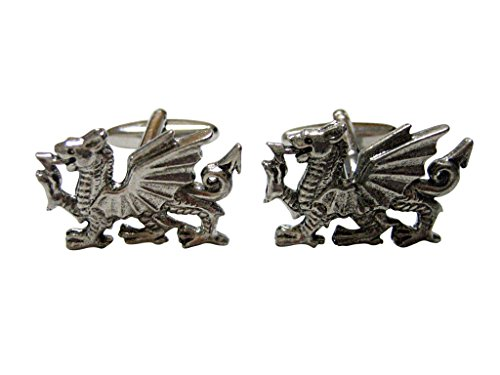 (Kiola Designs Silver Toned Textured Welsh Dragon Cufflinks)