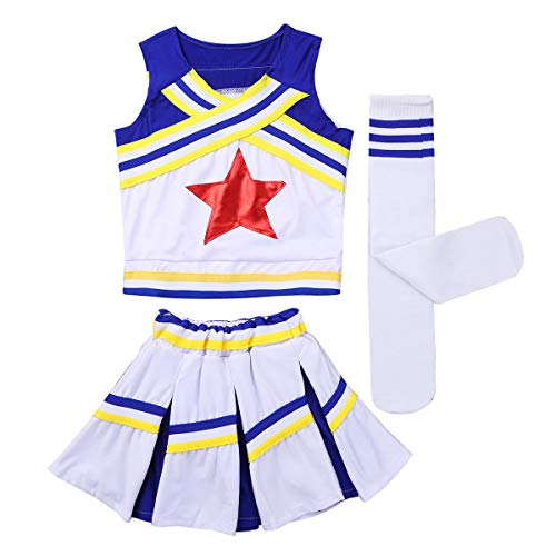iEFiEL Girls Classic Cheer Leader Outfit Kids Youth Shell Top Vest Mini Pleated Skirts Socks School Cheer Uniform Blue -
