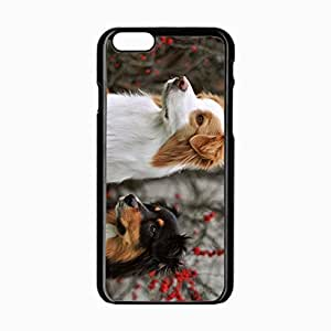 iPhone 6 Black Hardshell Case 4.7inch dogs pair fluffy Desin Images Protector Back Cover