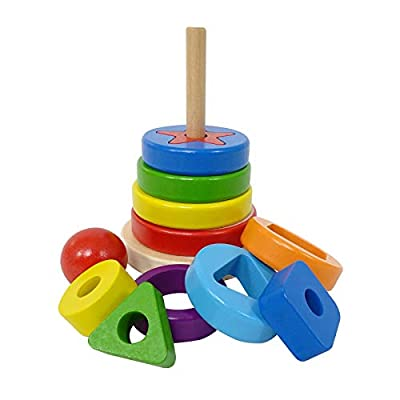 ELIITI 2-in-1 Wooden Rainbow Stacking Toy and Sorting Puzzle for Toddlers 2 to 4 Years Old: Toys & Games