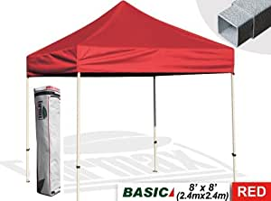Eurmax Basic 8x8 Pop Up Canopy Outdoor Gazebo Shelter Commercial Photo Booth With Carry Bag,Red