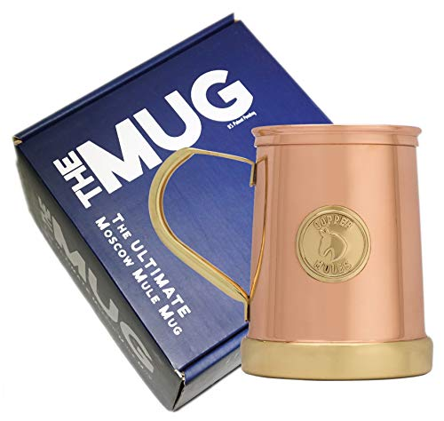 - The Finest HandCrafted Copper Mug by Copper Mules - Unique Patent Pending Design - Solid Brass Base and Handle - Holds 18oz