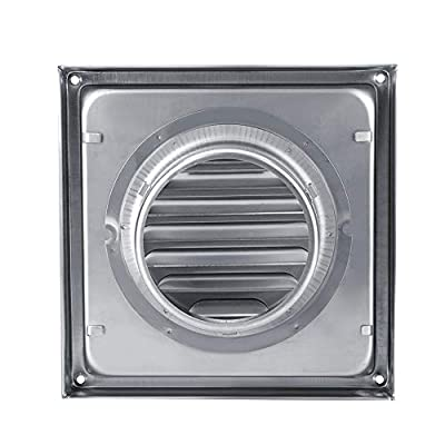 Wall Air Vent, 100mm Stainless Steel Air Vent Square Tumble Dryer Extractor Fan Outlet for Bathroom Office Kitchen Ventilation