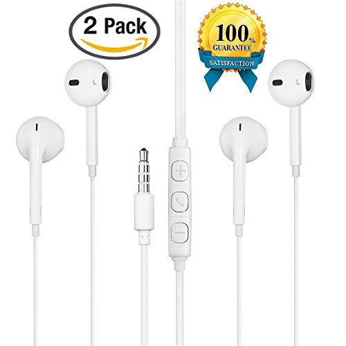 LTI-DIRECT Premium Quality Headphones With Microphone Remote Earphones For iPhone 6 6S Plus iPod Touch 5th Nano 7 iPad Mini , Air, iPad Pro, Samsung Galaxy/Note, LG V10 V20 G5 G6, HTC(2 Pack White)