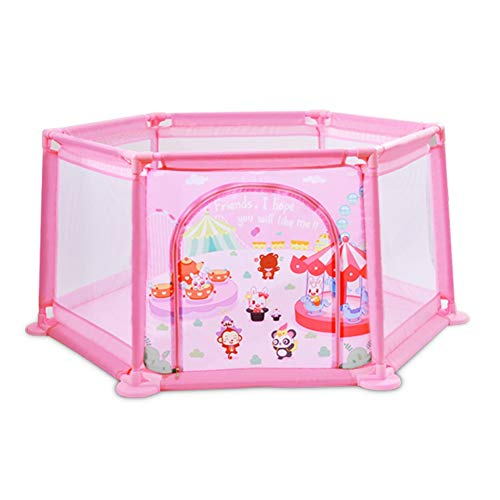 JINLINE Portable Baby Fence Plastic Safety Playground Suitable for Children Anti-Rollover 65 cm High Child Safety Protection (Color : Pink)