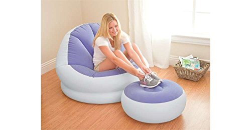 NEW Purple Inflatable Intex Cafe Chaise Chair Comfortable Lounge Seat w Ottoman - New Chaise Lounge Chair