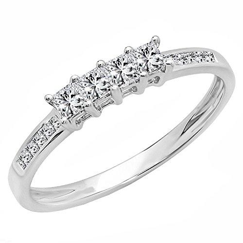 Dazzlingrock Collection 0.50 Carat (ctw) 14k Princess Cut Diamond Ladies Anniversary Wedding Band Stackable Ring 1/2 CT, White Gold, Size - Ct 0.5 Ring Diamond