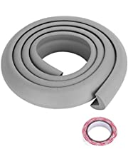 Bumper Strip, 2M DIY Thicken Table Edge Guard Protectors Baby Kids Security Desk Fireplace Countertop Pre-Taped Corners Widen Strip Cushion for Room Decor(Grey)