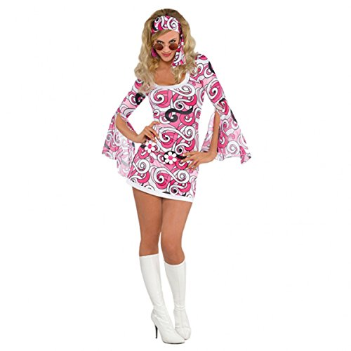 Adults 1960's Sexy 60s Chick Flower Hippy Fancy Dress Party Hippie Costume (Large 10-12) (60s Party Costumes)