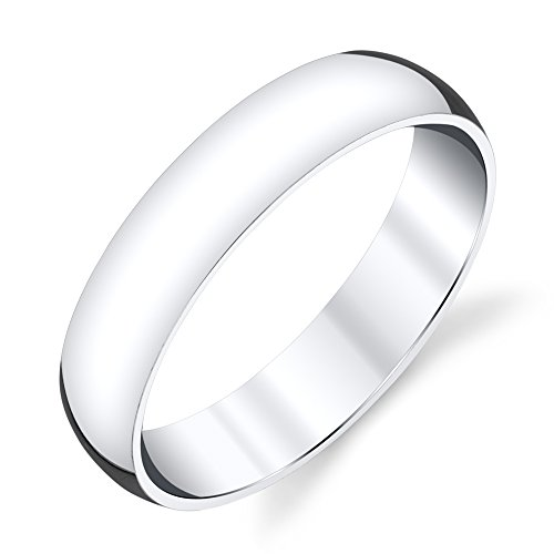 5mm Plain Dome Sterling Silver Mens Wedding Band Comfort Fit Ring #SEVB011 -