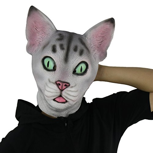 - FantasyParty Halloween Novelty Mask Costume Party Latex Cute Cat Mask Animal Head Mask