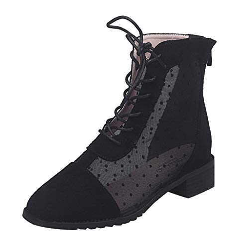 TnaIolral Women Short Boots Polka Dot Mesh Breathable Pointed Toe Back Zip Casual Boots (US:5.5, ()