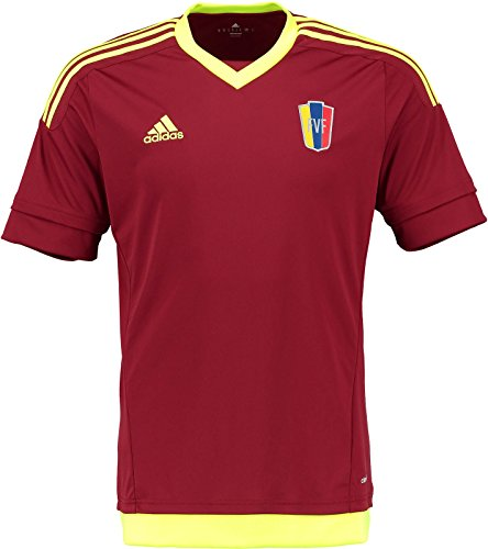 Venezuela Soccer Jersey (adidas Venezuela Home Jersey, Burgundy/Solar Yellow (M))