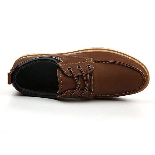 HangFan - Cartera de mano de Piel para hombre marrón