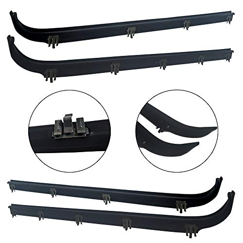 Make Auto Parts Manufacturing Passenger/Right Side and Driver/Left Side Inner and Outer Window Sweep Felts Weatherstrip 4 Pc kit - Rear/Front For Ford Bronco, F150, F250, F350 1984-1997 ()