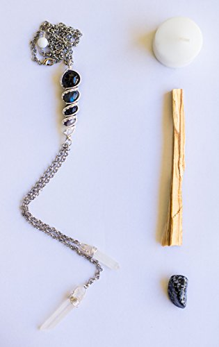 Rainbow Obsidian Goddess Pendant - Crystal Healing Wire Wrapped Stone Totem Choker Necklace Bolo Style