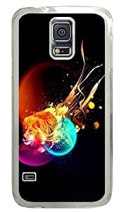 Abstract Lions Custom Samsung Galaxy S5 Case Back Cover, Snap-on Shell Case Polycarbonate PC Plastic Hard Case Transparent