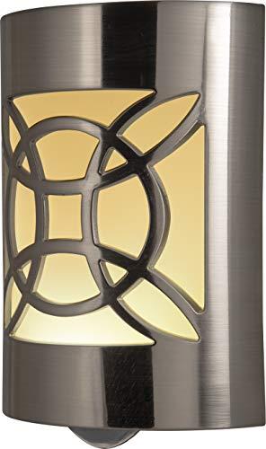 GE LED CoverLite, Celtic Design, Brushed Nickel Finish, Plug-In Night Light, Light Sensing, Dusk to Dawn Sensor, Energy-Efficient, Ideal for Hallways, Kitchens, Bathrooms, Bedrooms, Offices, 11358 (Plug Plate Ceiling In)