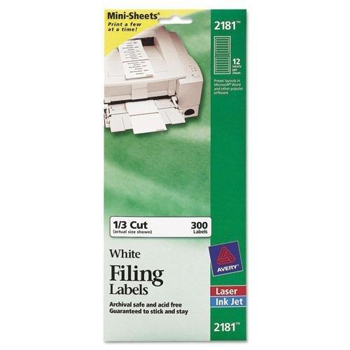 (Avery 2181 File Folder Labels on Mini Sheets, 2/3 x 3 7/16, White, 300/Pack)