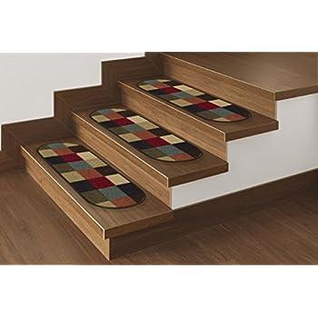 "Ottomanson Ottohome Collection 7 Checker Stair Treads 8.5""X26"", 7 Pack Oval, Multicolor Checker"