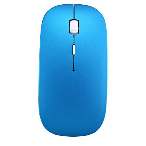 5 Type Color No Logo Solid Color Gaming Wireless Mouse 2400 DPI 4 Button Optical USB Mouse Under 5 Dollar (1pcs, Blue) ()