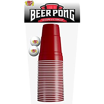 180CUP Disposable Red Party Cup with Built In Shot Glass (Pack of 22 + 2 Pong Balls)