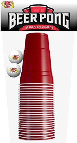 180CUP Disposable Red Party Cup with Built In Shot Glass (Pack of 22 + 2 Pong Balls) (Plastic Cups With Shot Glass Built In)