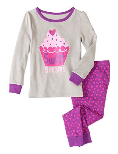 Baby and Toddler Girls Snug Fit Graphic Pajama Long Sleeve Shirt and Pants Two-Piece Set (2T, Sweet Dreams Cupcake) - Cupcake Pajama Set
