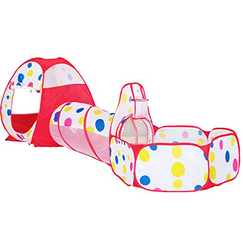Diagonal Hoop (LINJING 3-Piece Kids Play Tents Crawl Tunnels and Ball Pit Popup Bounce Playhouse Tent with Basketball Hoop for Indoor and Outdoor Use with Red Carrying Case)