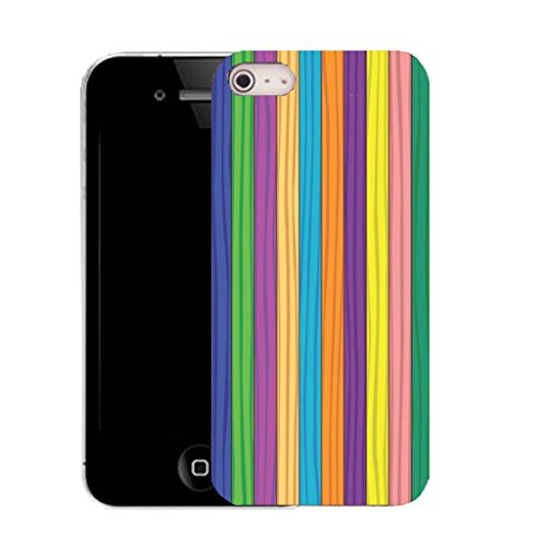 Mobile Case Mate IPhone 5S clip on Silicone Coque couverture case cover Pare-chocs + STYLET - MULTI STRIPE pattern (SILICON)