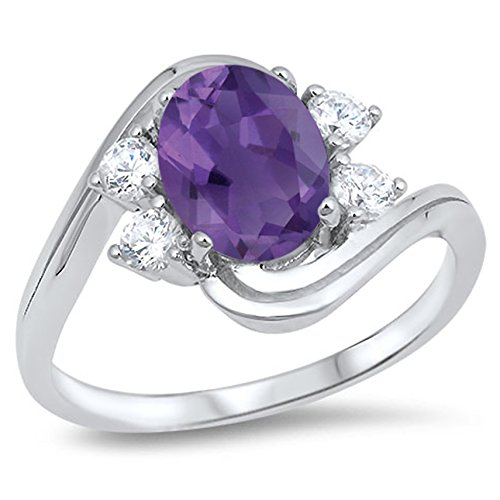 925 Sterling Silver Faceted Natural Genuine Purple Amethyst Oval Ring Size 9