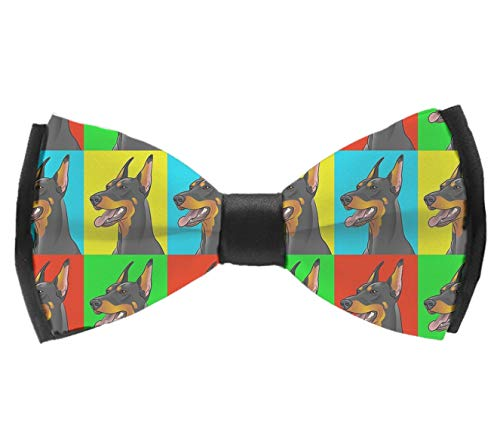 L Wright-King Doberman Pinscher Dogs Pre-Tied Adjustable Men's Bow Tie for Boys Gift