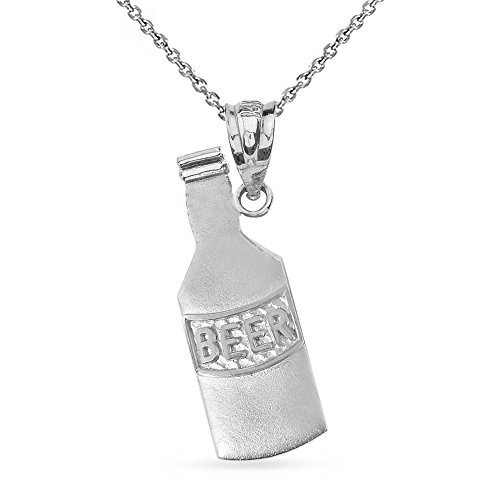 High Polish 925 Sterling Silver Beer Bottle Charm Pendant Necklace, 22""