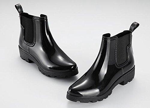 Slip Shoes Boots Omgard Rain Low Flats Rubber Black Rainboot Heels Women Ankle Waterproof On qqAzW6FT