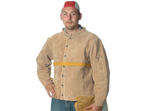 Superior WJ30 Top Star Deluxe Split Leather Welder's Jacket with Kevlar Sewn, 30'' Length, Large