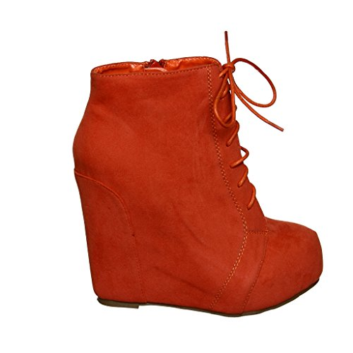 Lace up Coral Wedge up Wedge Lace Booties Booties rrBw4qT