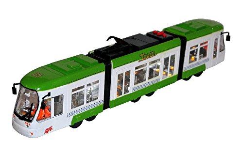 Kinder Spielzeug Straßenbahn Tram Zug Bus Grün mit LED Licht, Scheinwerferlicht, Sound, fährt vor & zurück NEU