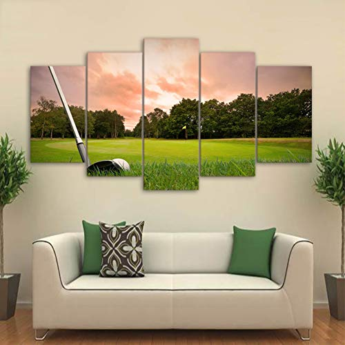 KKXXFBH Print Hd Picture Frame Wall Art 5 Pieces Golf Courses and Ball Bar Scenery Poster Modular Canvas Painting Decor Home Living Room