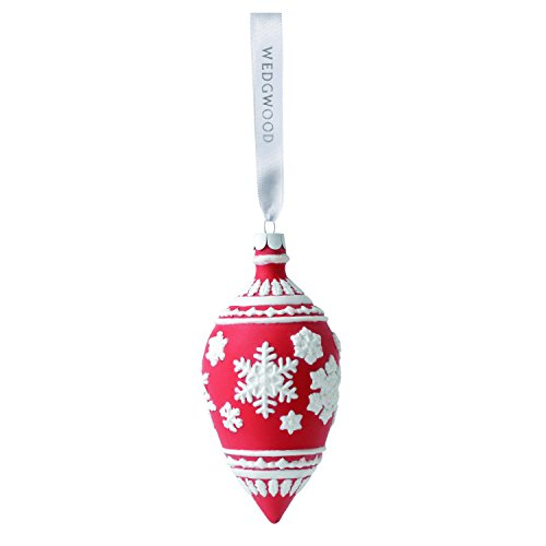 Wedgwood Snowflake Teardrop Christmas Ornament, 4.25